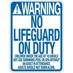 "Pool Sign - ""No Lifeguard"" - Wyoming"