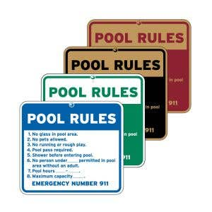 "Pool Signs - ""Pool Rules"" English"