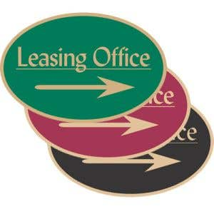 """Directional Signs - """"Leasing"""" Right Arrow - Oval"""