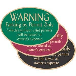 """Resident Parking Signs - """"Warning"""" Oval"""