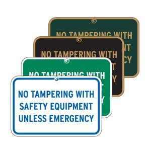 """Pool Signs - """"No Tampering With Safety Equipment"""""""