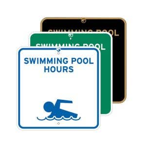"""Pool Signs - """"Swimming Pool Hours"""""""