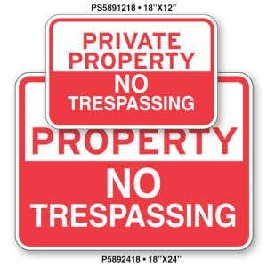 """Private Property Signs - """"No Trespassing"""""""