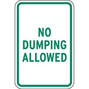 """Dumpster Rules Signs - """"No Dumping Allowed"""""""