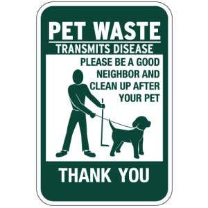 """Pet Waste Signs - Standard with """"Thank You"""""""