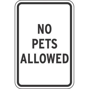 "Pet Area Sign - ""No Pets Allowed"""