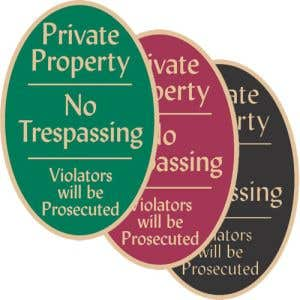 """No Trespassing Signs - """"Private Property"""" Oval"""