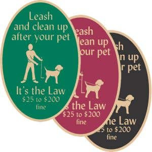 """Pet Waste Signs - """"Leash and Clean Up"""" Oval"""