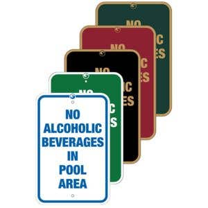 """Pool Signs - """"No Alcoholic Beverages"""""""