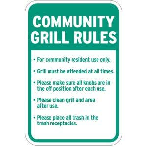 """Grill Signs - """"Community Grill Rules"""" - Gas"""