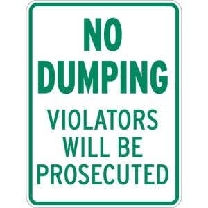"""Dumpster Rules Signs - """"No Dumping"""""""