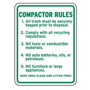"""Dumpster Rules Signs - """"Compactor Rules"""""""