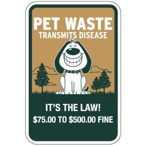 """Pet Waste Signs - """"Transmits Disease"""" Smiling Dog"""