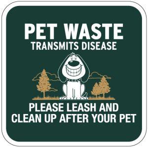 Pet Waste Sign - Smiling Dog - Square