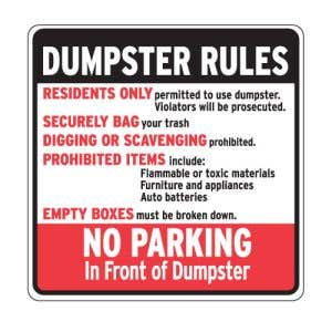 """Dumpster Rules Signs - """"No Parking in Front"""""""