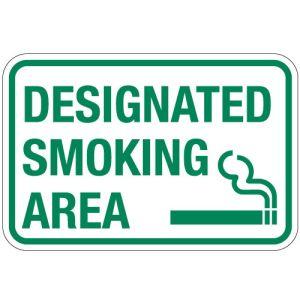 """No Smoking Signs - """"Designated Smoking Area"""""""