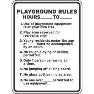 """Playground Rules Sign - """"Age Requirements"""""""
