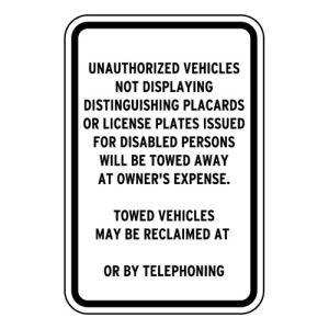 Handicap Parking Signs - California