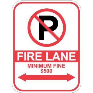 "Fire Lane Sign - ""Minimum Fine $500"""