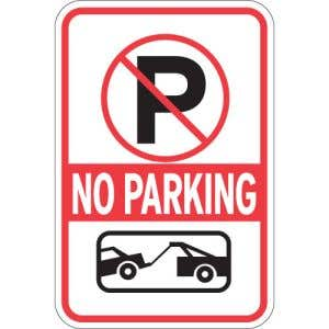 "No Parking Signs - ""No Parking"" Tow Symbol"