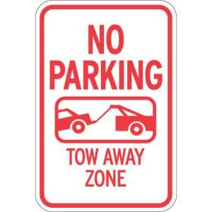 """No Parking Signs - """"Tow Away Zone"""" Tow Symbol"""