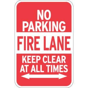 """Fire Lane Signs - """"No Parking Keep Clear"""" Arrows"""