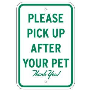 """Pet Waste Signs - """"Please Pick Up After Your Pet"""""""