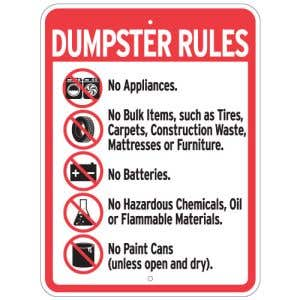 """Dumpster Rules Signs - """"Rules"""" Graphics"""
