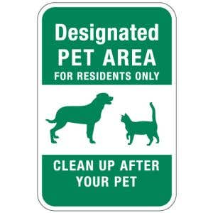 """Pet Area Sign - """"Residents only"""""""
