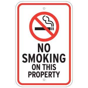 """No Smoking Signs - """"On this Property"""""""