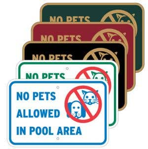 """Pool Signs - """"No Pets Allowed in Pool Area"""""""