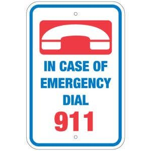 """Pool Sign - """"In Case of Emergency Dial 911"""""""