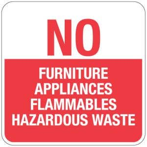 """Dumpster Rules Signs - """"No Furniture, Appliances"""""""