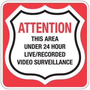 "Surveillance Signs - ""24 Hour Video Surveillance"""