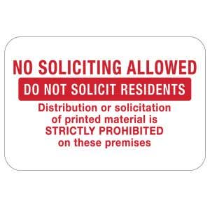 """No Soliciting Signs - """"Do Not Solicit Residents"""""""