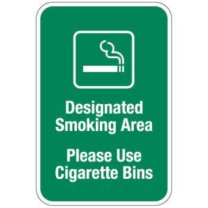 "No Smoking Signs - ""Please Use Cigarette Bins"""