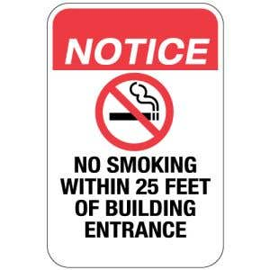 "No Smoking Signs - ""No Smoking Within 25 Feet"""