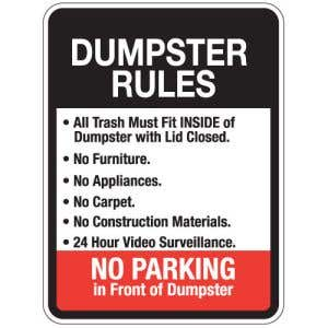"""Dumpster Rules Signs - """"No Parking"""" Black/Red"""