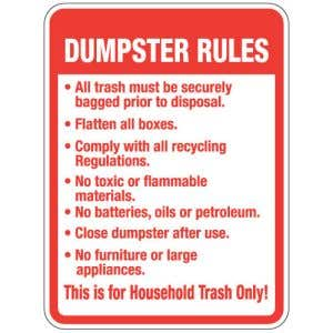 """Dumpster Rules Signs - """"For Household Trash"""""""