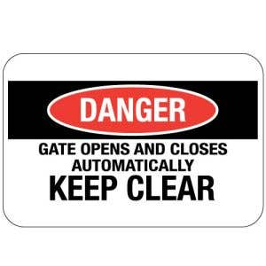 """Automatic Gate Signs - """"Danger"""""""