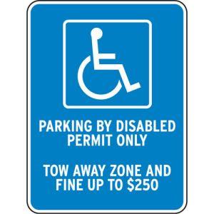 "Handicap Parking Signs - ""Fine Up To $250"""