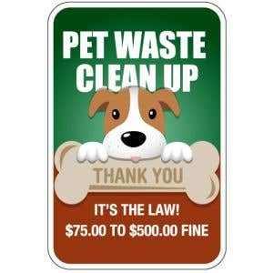 """Pet Waste Signs - """"Clean Up"""" Dog with Bone"""