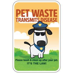 "Pet Waste Sign - ""Transmits Disease"" Police Dog"