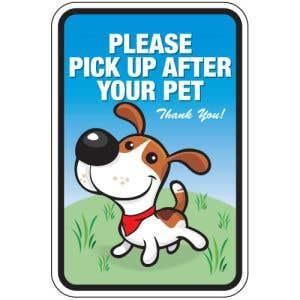 """Pet Waste Sign - """"Please Pick Up"""" Happy Puppy"""