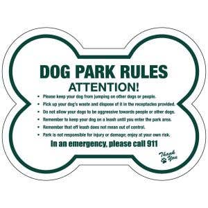 "Dog Park Sign - ""Park Rules""  - Die-cut Bone"