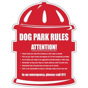 "Dog Park Sign - ""Park Rules""  - Die-cut Hydrant"