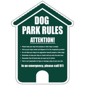 "Dog Park Sign - ""Park Rules""  - Die-cut House"