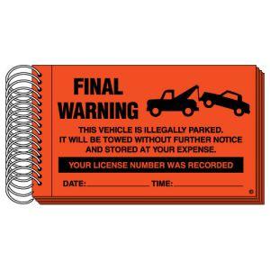"Parking Violation Books - ""Final Warning"" Fluorescent Red"