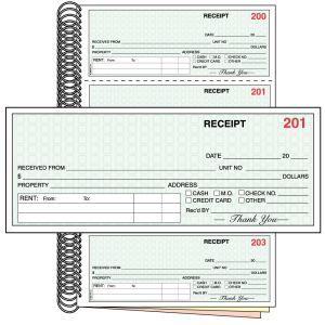 3 Part Standard Rent Receipt Book