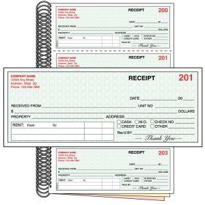 3-Part Rent Receipt Book with Custom Imprint